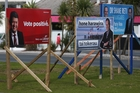 SIGN OF THE TIMES: Election hoardings have started sprouting up around Northland - with this bunch at Whangarei Town Basin - and already they are being destroyed by vandals. PHOTO/MICHAEL CUNNINGHAM