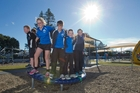 SPRING FEEL: It was sunny and warm and perfect for a spot of bouncy fun on Marine Parade in Napier, as these youngsters visiting from Omakere School discovered. PHOTO/GLENN TAYLOR