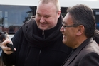 Mana leader Hone Harawira (right) with Internet Mana's Kim Dotcom at Apumoana Marae. Photo / Stephen Parker