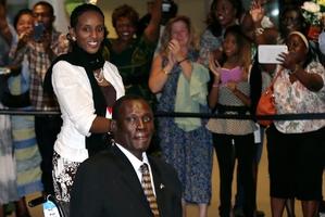 Meriam Ibrahim and her husband Daniel Wani arrive in Manchester, New Hampshire. Photo / AP