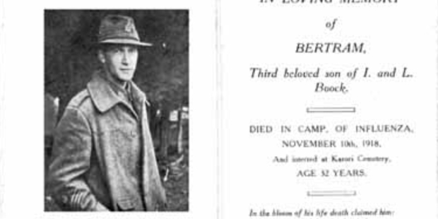 Sergeant Bertram Boock died from the flu on his 32nd birthday.
