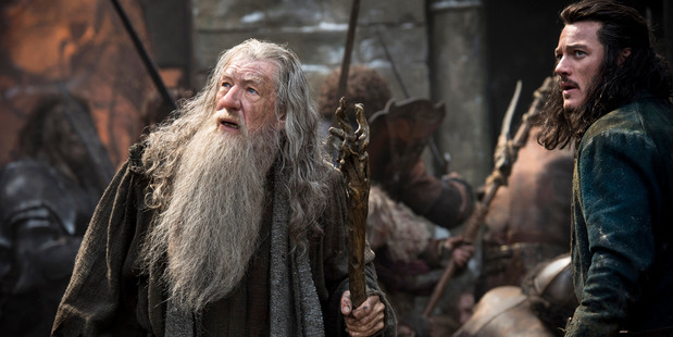 Loading Ian McKellen, left, as Gandalf The Grey, and Luke Evans as Bard, in a scene from The Hobbit: The Battle of Five Armies. Photo/AP