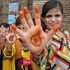 Pakistani girls show their hands painted with henna ahead of the Muslims Eid al-Fitr holiday that marks the end of the fasting month of Ramadan in Peshawar, Pakistan. Photo / AP
