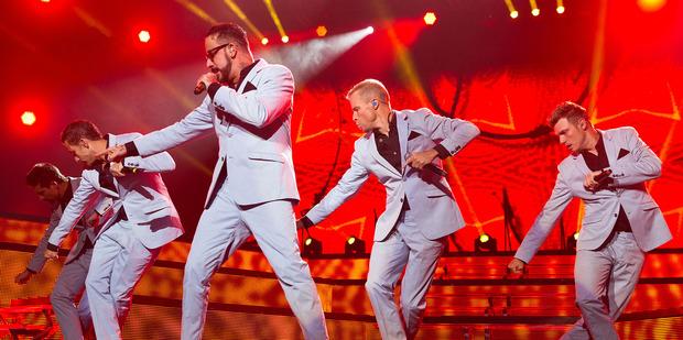 The Backstreet Boys perform in Omaha. Photo/AP