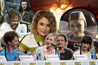 Peter Jackson and his Hobbit cast, Rose McIver and Anna Jullienne in Over The Moon. Photo / AP, Getty Images, Supplied