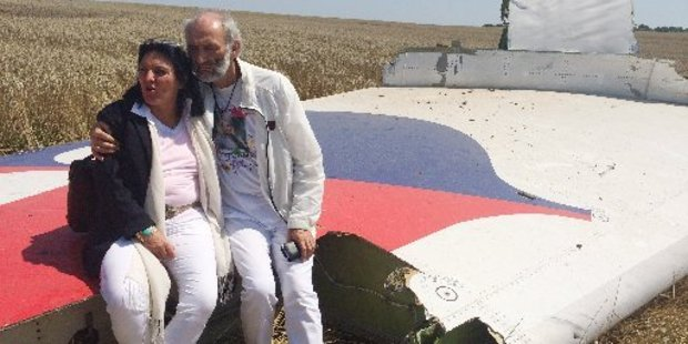 The Dyczynskis at the MH17 crash site. Photo / AP