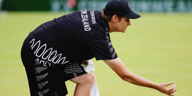 New Zealand bowler Jo Edwards in action during the gold medal match against England's Natalie Melmore. Photo / Getty Images