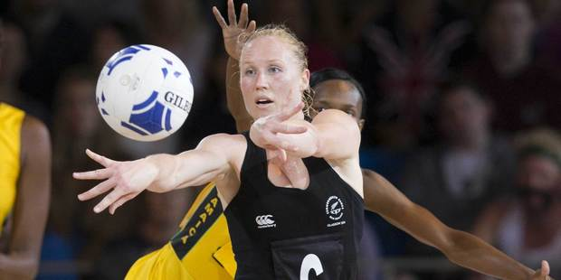 New Zealand's Laura Langman in action against Jamaica. Photo / Greg Bowker