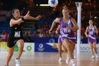 Liana Leota of New Zealand chases the ball during the pool B netball match against Scotland. Photo / Getty Images