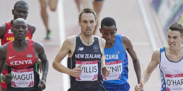 Nick Willis on his way to qualifying for the 1500m final. Photo / Greg Bowker