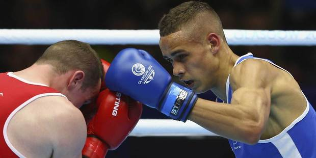 New Zealand's David Nyika (in blue) in action against Sean McGlinchy of Northen Ireland during the men's light heavy 81kg semifinal. Photo / Getty Images