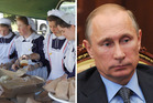 Members of Gloriavale and Russian President Vladimir Putin. Photo / NZH, AP