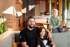Mark Easterbrook at home with sons Hunter and Jake. Photo / Babiche Martens.