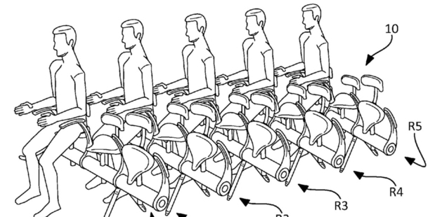 A US patent filed by French flight operator and plane manufacturer Airbus imagines the future of air travel as tightly-packed rows of passengers perched upright on motorcycle-type saddles.