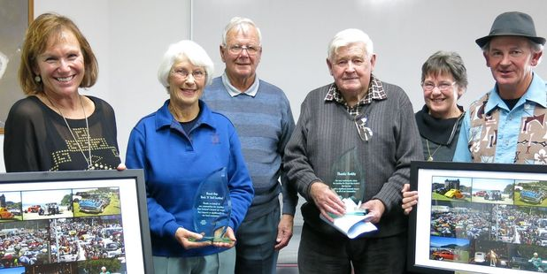 With their trophy and framed photos are, from left: Marie Bunyan, Gill and Jack Churstain, Ralph and Raewyn Gleeson and Noddy Watts.