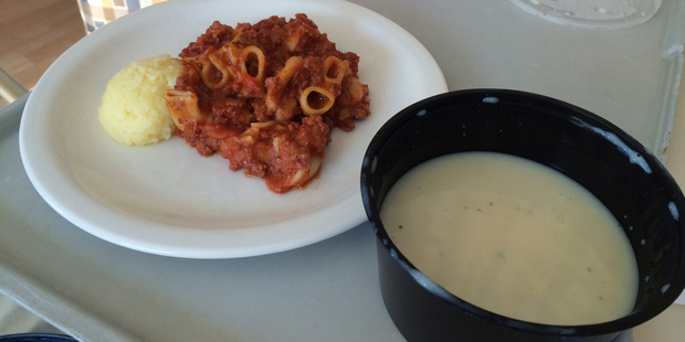 Nicola Miller-Clendon's meal served at Auckland Hospital.
