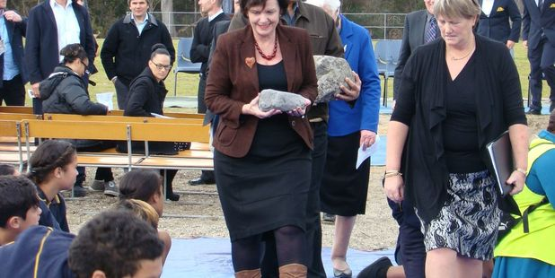 RGP 30Jul14 - HISTORIC: Anne Tolley (left), Aaron Rangihika (partly obscured) and school principal Helen Tuhoro at the turning of the soil ceremony at Tarawera High School yesterday. PHOTO/PAU
