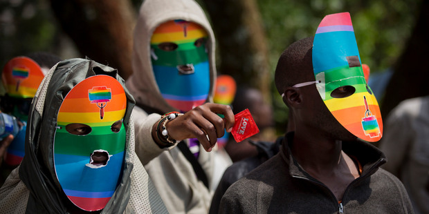 Kenyan gays, lesbians and supporters protest Uganda's anti-gay laws outside the Ugandan High Commission in Nairobi. File photo / AP