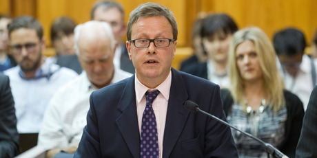 GCSB Director Ian Fletcher at the Intelligence and Security Committee at Parliament. Photo / Mark Mitchell