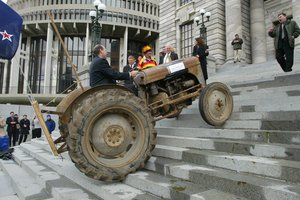 National MP Shane Ardern drove a tractor up Parliament steps during the anti-fart tax protest by farmers in September, 2003. File photo / Mark Mitchell