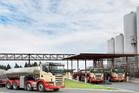Westland Milk factory and milk tankers at Hokitika.