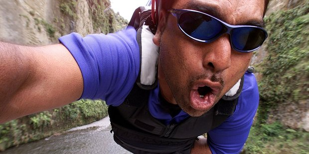 Bungy jumpmaster Darryn McClutchie flies at up to 160km/h as he tests the Mokai Gravity Canyon. Photo / Glenn Jeffrey