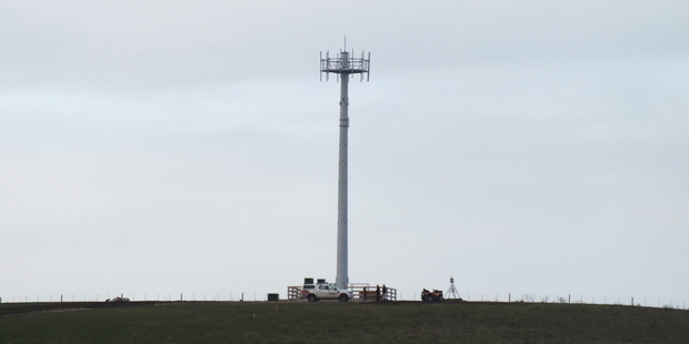 A new Telecom tower at All Day Bay Road, Maheno, being installed as part of the Government's rural broadband initiative. Photo / Janice Donnelly