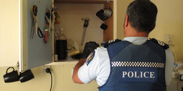 Police search a house in Kaikohe Northland police drug operation.