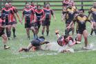 Muriwhenua Kuaka's Leighton Karena running the ball up against the Otangarei Knights.
