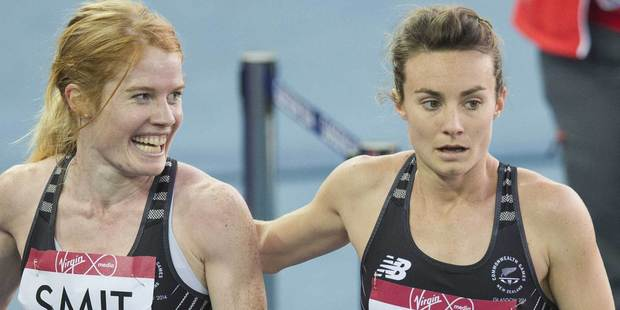 Angie Smit and Nikki Hamblin after the women's 800m final. Photo / Greg Bowker