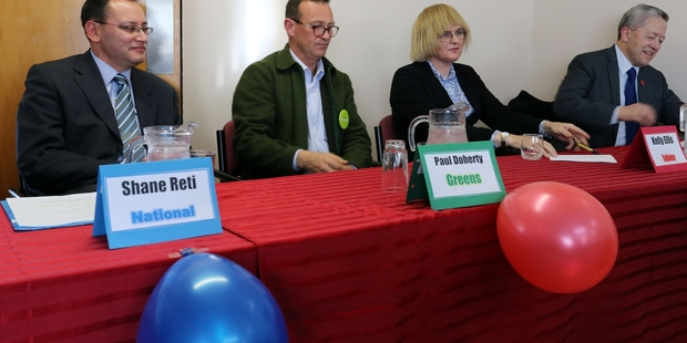 ON SHOW: National candidate Dr Shane Reti (left), Green's Paul Doherty, Kelly Ellis of Labour and Pita Paraone of New Zealand First at yesterday's meeting at Radius Potter Home in Whangarei. PHOTOS/JOHN STONE