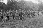 Prime Minister William Massey and Deputy PM Joseph Ward  inspect the NZ Cyclist Battalion.