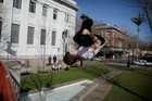 FEARLESS: Louis Gower does a diving front flip at Majestic Square. PHOTO/DEVYN STAINES