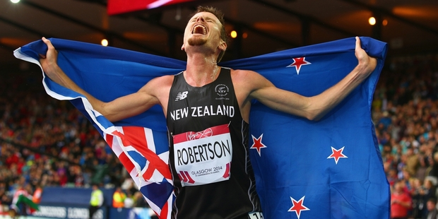 New Zealand's Zane Robertson shows his elation after going toe-to-toe with the Kenyans to win bronze in the 5000m final at Hampden Park. Photo / Getty Images