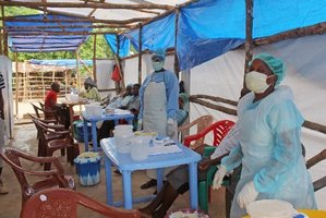 Medical personnel inside a clinic taking care of Ebola patients in Sierra Leone. Photo / AP