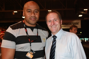 Jonah Lomu and John Key, pictured together in 2009, shared the love on Twitter yesterday.