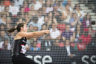 Julia Ratcliffe throws the during the hammer throw finals at Hampden Park. Photo / Greg Bowker