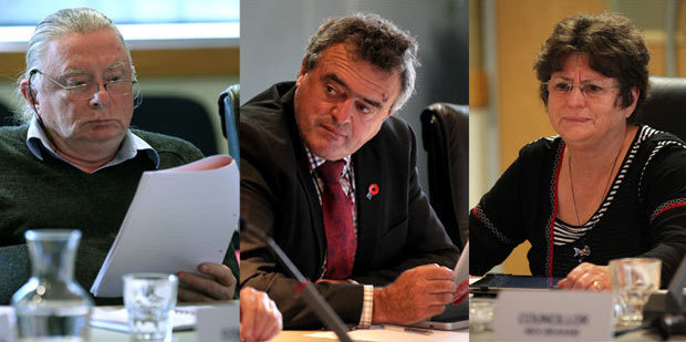 Blog Post: Cr Tom Belford, Complaint: Cr Christine Scott, Chairman: Cr Fenton Wilson. Photo / Duncan Brown