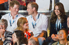 Royalty watches the boxing at the Commonwealth Games. Photo / Greg Bowker