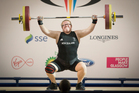 Weight lifter Tracey Lambrechs, during the women's +75kg lifts at the Clyde Auditorium. Photo / Greg Bowker