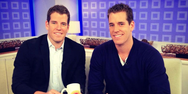 Harvard University-educated twins, Cameron and Tyler Winklevoss, plan to introduce an exchange-traded fund the Winklevoss Bitcoin Trust.  Photo / Twitter @winklevoss