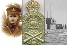 From left: Ludolph Edwin Wynn West; a Railway Battalion NZ Engineers brass cap badge, The Australian submarine AE1 that disappeared off German New Guinea.