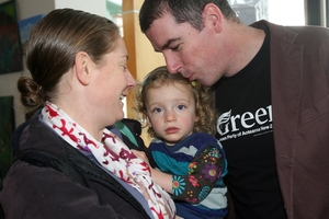 Green Party candidate John Hart with his wife and daughter attended.