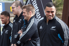Liam Messam and fellow All Blacks in Rotorua yesterday.
