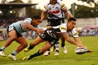 IN FORM: Rotorua's Dean Whare has been in top form for the Penrith Panthers this season. Here he is playing against the Sharks earlier this year. PHOTO/MARK NOLAN, GETTY IMAGES 080814WHARE