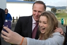 Kapiti student Alice Jones snaps a selfie with the PM. Photo / Mark Mitchell