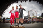 Kiwi Jack Bauer, right, said he had to dig deep to claim silver behind Geraint Thomas, centre, but ahead of Scott Thwaites. Photo / Greg Bowker