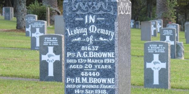 A memorial headstone to the Browne brothers at the Waikumete Cemetery.