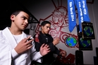 Paki Ormsby, 13, and Te Kanohi Kuka, 15, with the medals they won at the Kids World Brazilian Jiu-Jitsu championships in Los Angeles. Photo / George Novak