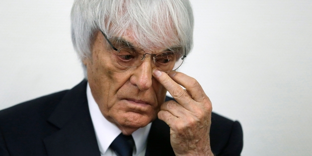 Bernie Ecclestone's age, 83, and health were cited as factors in his bribery trial being abandoned. Picture / AP